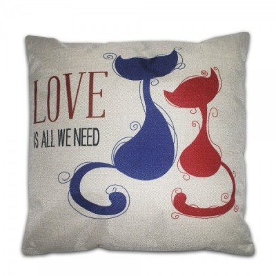 Cojín CATS LOVE IS ALL WE NEED algodón 45x45