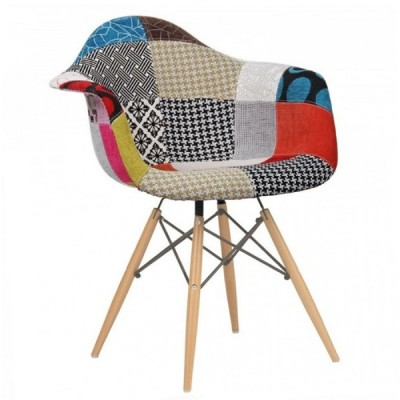 Silla TOW WOOD ARMS madera y tejido patchwork multicolor