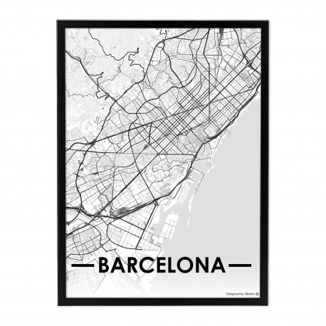 Lámina con marco CITY MAP BARCELONA 33x43